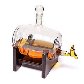 Штоф для вина, коньяку BST 640004 Бочка скляна 1000 мл.