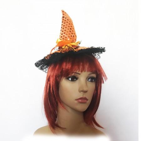 Шляпка на ободке Ведьмочки с кружевом (оранжевая)