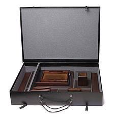 """Настольный набор """"BST"""" 80004 с серебристыми ручками коричн. натуральная кожа, дерево Черешня, фото 3"""