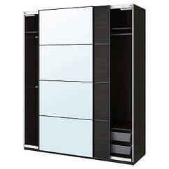 PAX ПАКС / MEHAMN/AULI МЕХАМН/АУЛІ Гардероб, комбінація - чорно-коричневий/дзеркальне скло - IKEA