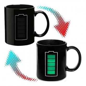 Чашка-хамелеон Батарейка (черная), фото 2