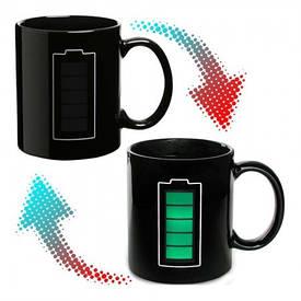 Чашка-хамелеон Батарейка (чорна)
