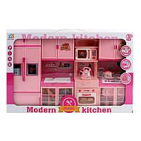 Мебель кухня, 50-31-7см, звук, свет, плита, холодильник, посуда, батарейки,в коробке, 51-32-8см