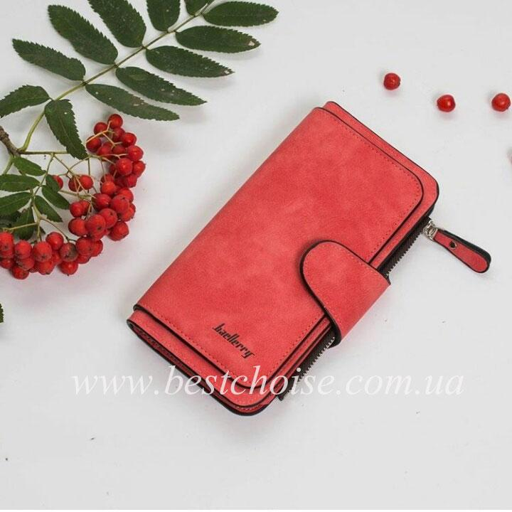 Красный (коралловый)  Baellerry Forever. Женский стильный кошелек - клатч из эко-замши.