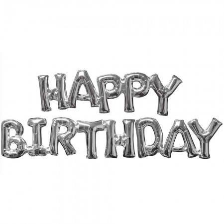 Фольгированные буквы серебряные HAPPY BIRTHDAY, 40 см, фото 2