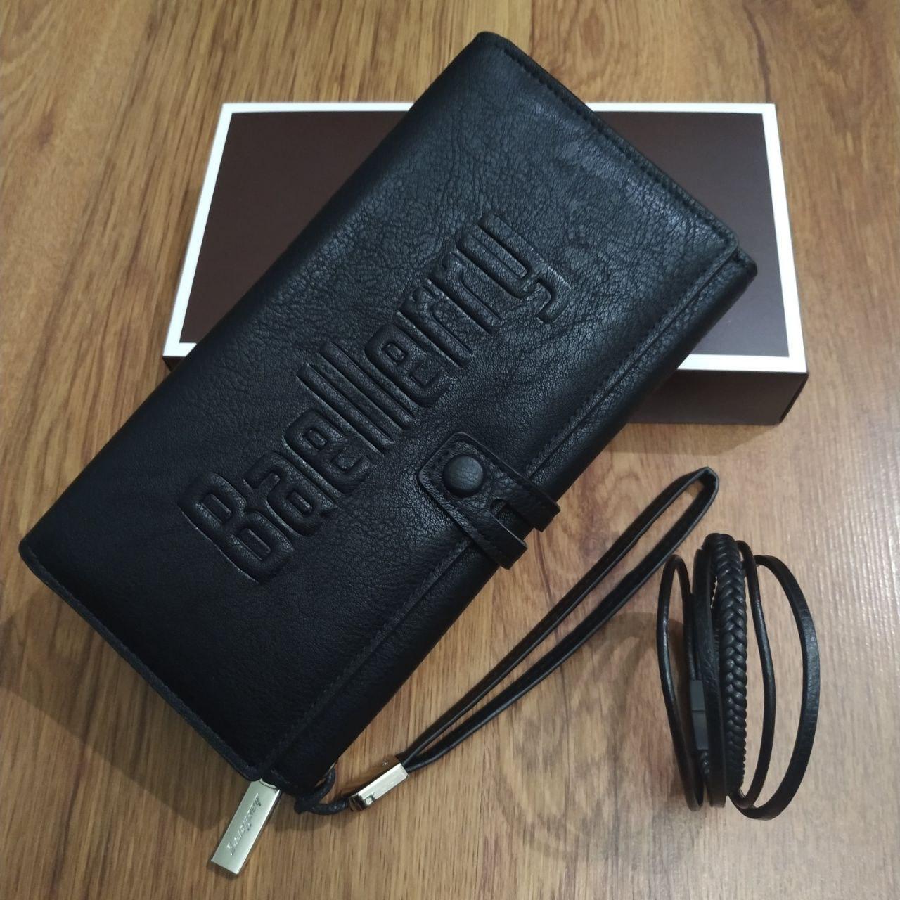 Подарочный набор №6. Мужской клатч (бумажник) Baellerry Guero + мужской браслет из кожи Wicker