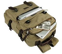 Рюкзак мужской городской BST 280013 41х30,5х11,5 см. хаки, фото 2