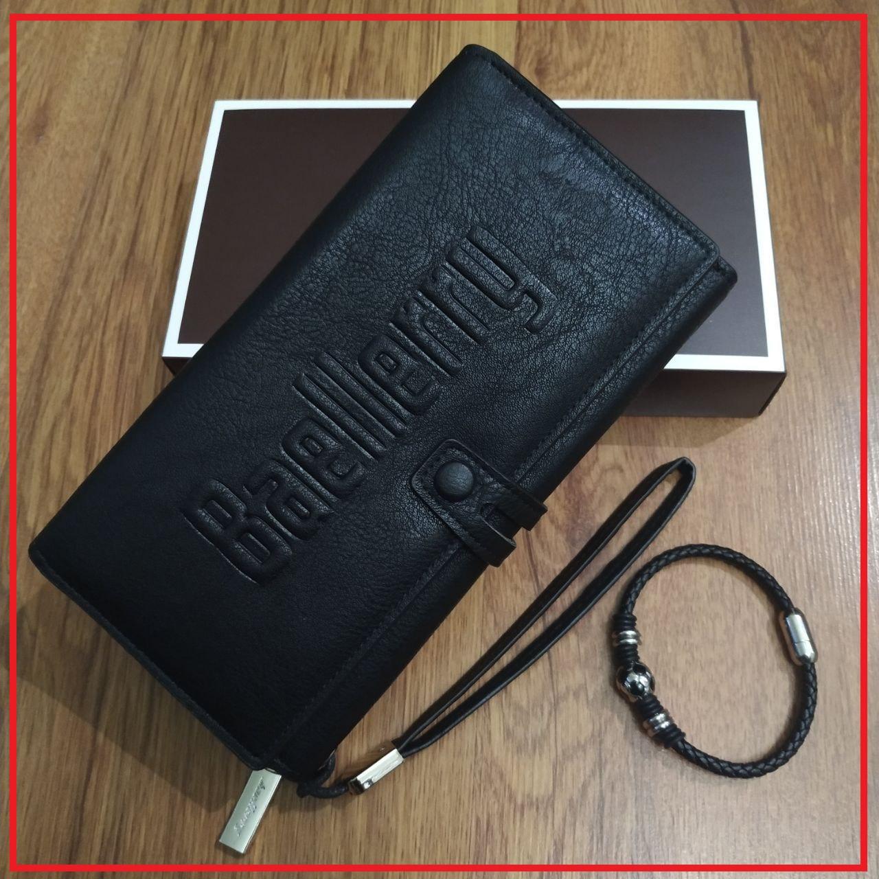 Подарочный набор №18. Мужской клатч (бумажник) Baellerry Guero + мужской браслет из кожи и стали Ball