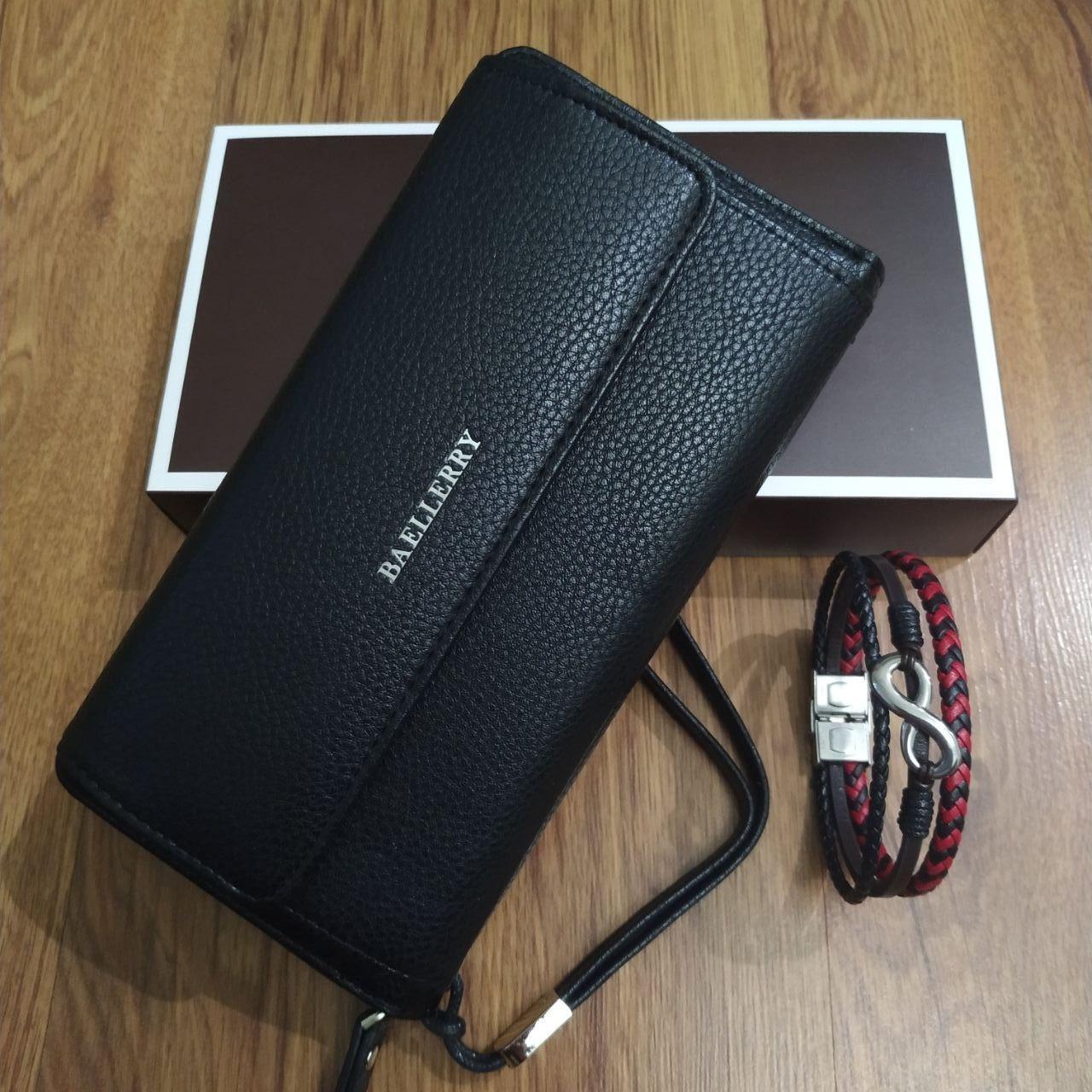 Подарочный набор №19. Мужской клатч (бумажник) Baellerry Favorit + мужской браслет из стали и кожи Infinity