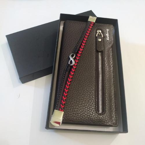 Подарочный набор №21. Мужской стильный клатч-портмоне Baellerry Monaco + браслет из стали и кожи Infinity