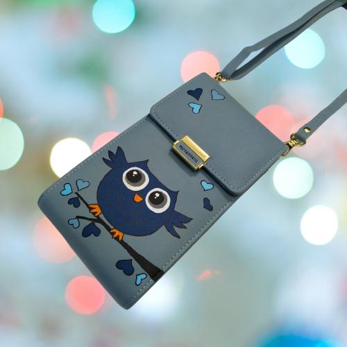 Женская сумочка для телефона. Совушка, голубая. Стильная, яркая, ручная роспись