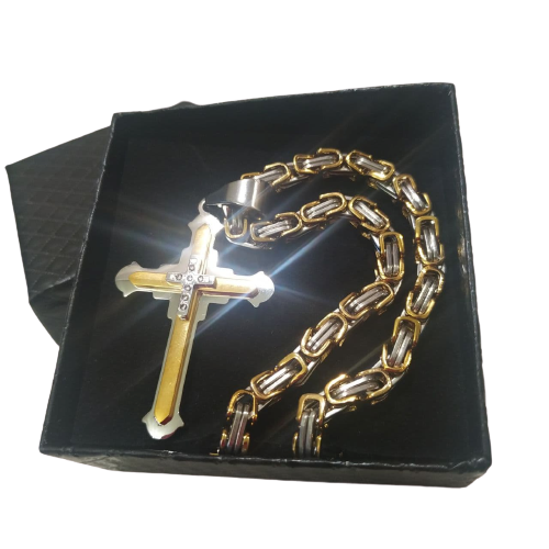 Подарочный набор: мужская цепочка Steel Rage 5мм + крестик