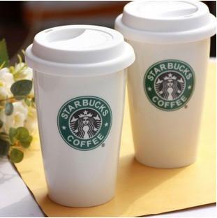 Чашка керамическая с силиконовой крышкой с поилкой Starbucks. Мятая упаковка.