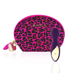 Мини вибромассажер Rianne S: Lovely Leopard Purple, 10 режимов работы, косметичка-чехол, мед.силикон 18+