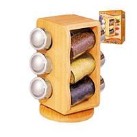 """Набор для специй Спецовница на деревянной подставке """"Woody"""" 6 штук в наборе 13.5*13.5*20.5см MS-0369"""