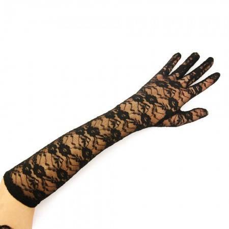 Перчатки гипюровые длинные (черные), фото 2