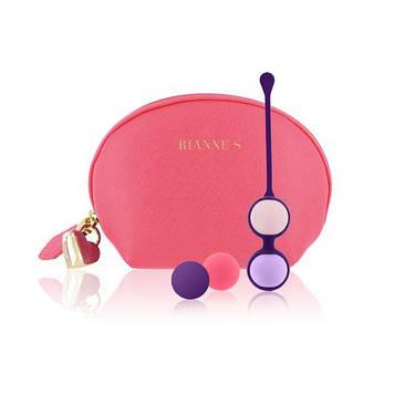 Набор вагинальных шариков Rianne S: Pussy Playballs Coral, вес 15г, 25г, 35г, 55г, монолитные, косметичка