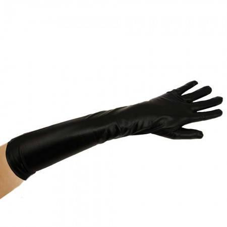Перчатки атласные длинные (черные), фото 2