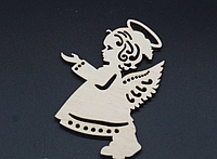Деревянная новогодняя игрушка заготовка украшение из фанеры Ангелок 90 мм. Новорічна прикраса