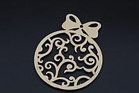 Деревянная новогодняя игрушка заготовка украшение из фанеры Игрушка шар 90 мм. Новорічна прикраса