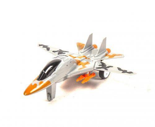 Самолет-истребитель, инерционный (серый), фото 2