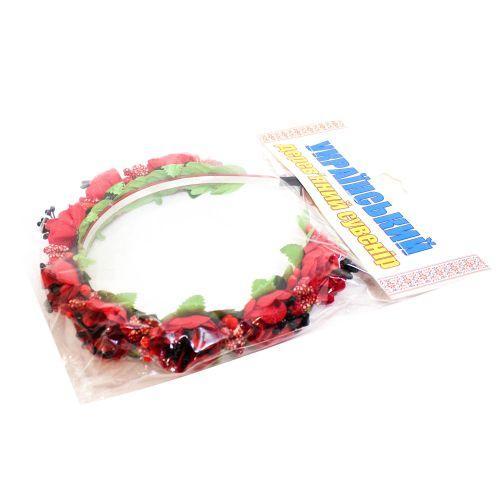 Цветочный обруч Красный букет (тонкий) ОУ024у