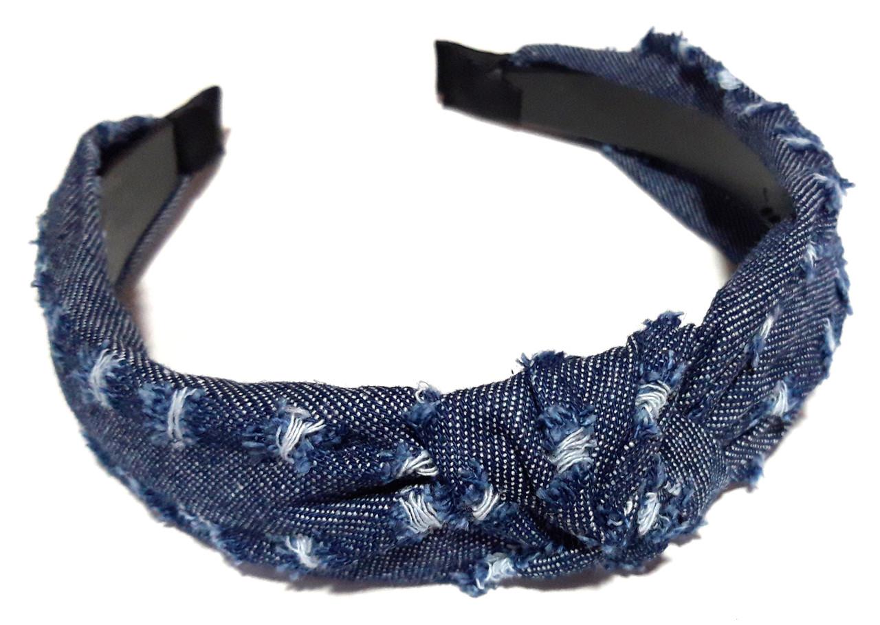 Обруч-чалма джинса в потертостях, синий