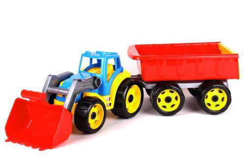 Трактор с ковшом и прицепом ТехноК (красно-голубой)