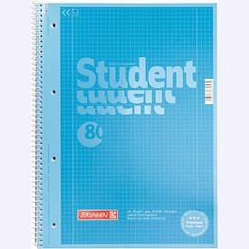 Записна книга коледж-блок А4 Brunnen 80 арк. клітка карт. обл. спіраль синій Premium 10-679 28 133