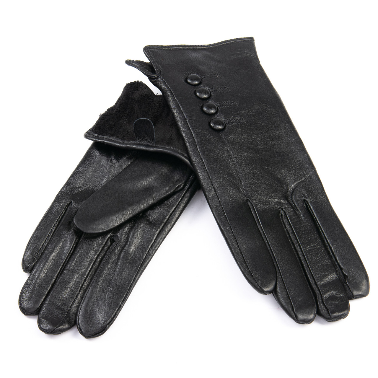 Перчатка Женская кожа F31/19-1 мод5 black флис