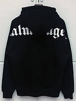Черное худи Palm Angels Black / White Logo, унисекс (мужское, женское, детское)