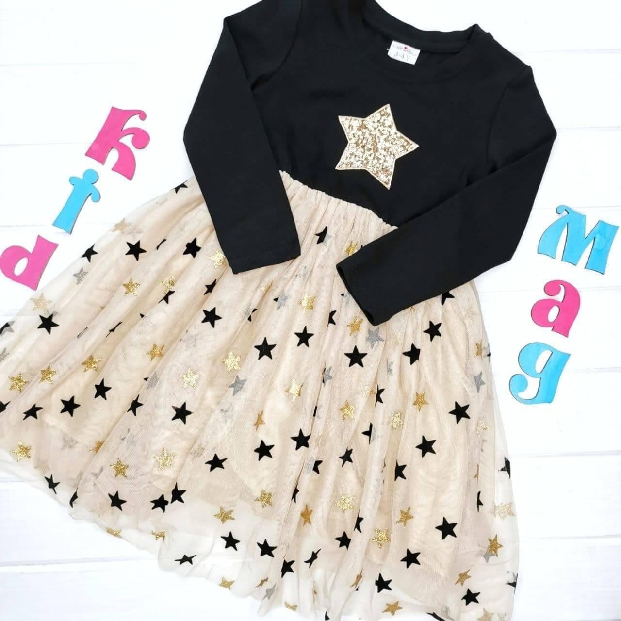 """Нарядное платье с фатиновой юбкой """"Звездное небо"""" на 4-5 лет"""