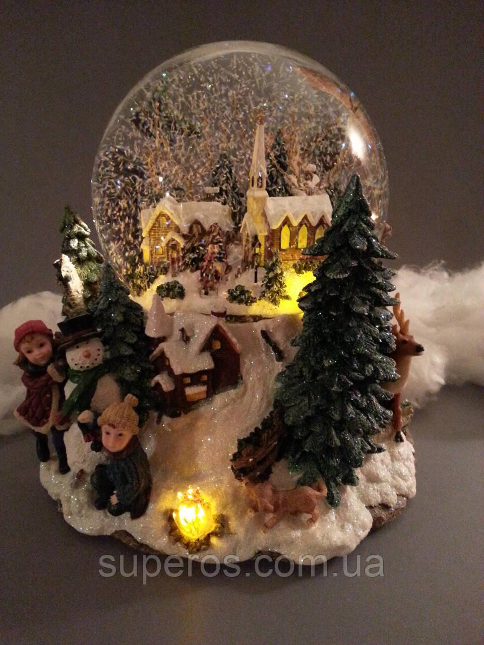 Стеклянный музыкальный шар с автоснегом и подсветкой