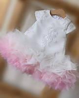 Детское платье Лили с кружевным верхом и оборками градиент для девочки