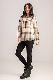 Стильная бежевая рубашка в клетку с длинным рукавом свободного кроя в размере S, M и L, XL.