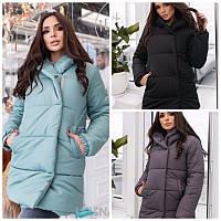 Модная женская зимняя куртка короткая матовая на змейке и кнопках плащевка с пропиткой 3 цвета
