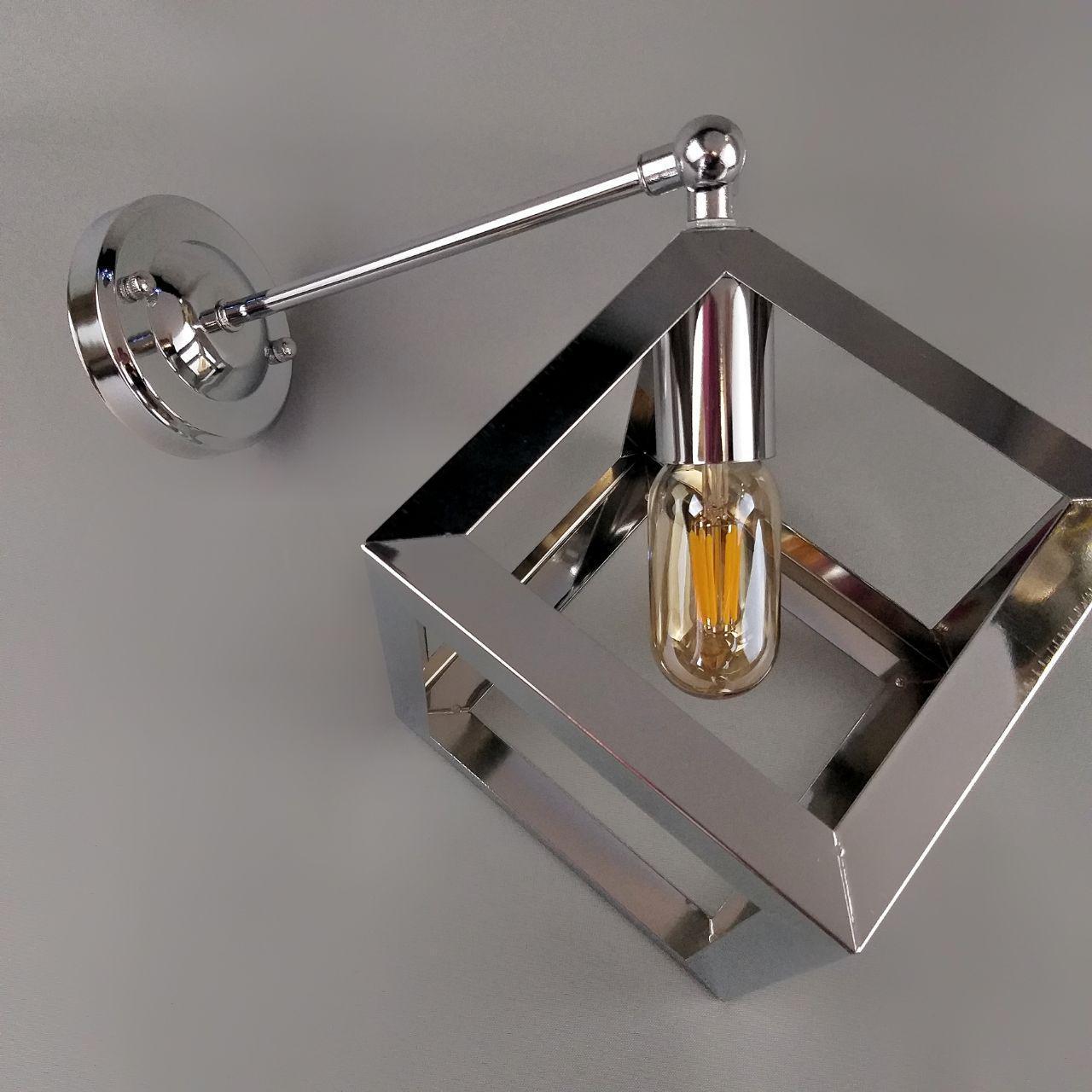 Бра на одну лампу в стиле лофт куб в хроме поворотное YS-TY001-A/1W CHROME