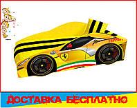 Кровать машина с матрасом Феррари желтая, фото 1