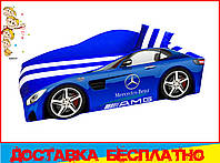 Кровать машина с матрасом Мерседес синий, фото 1