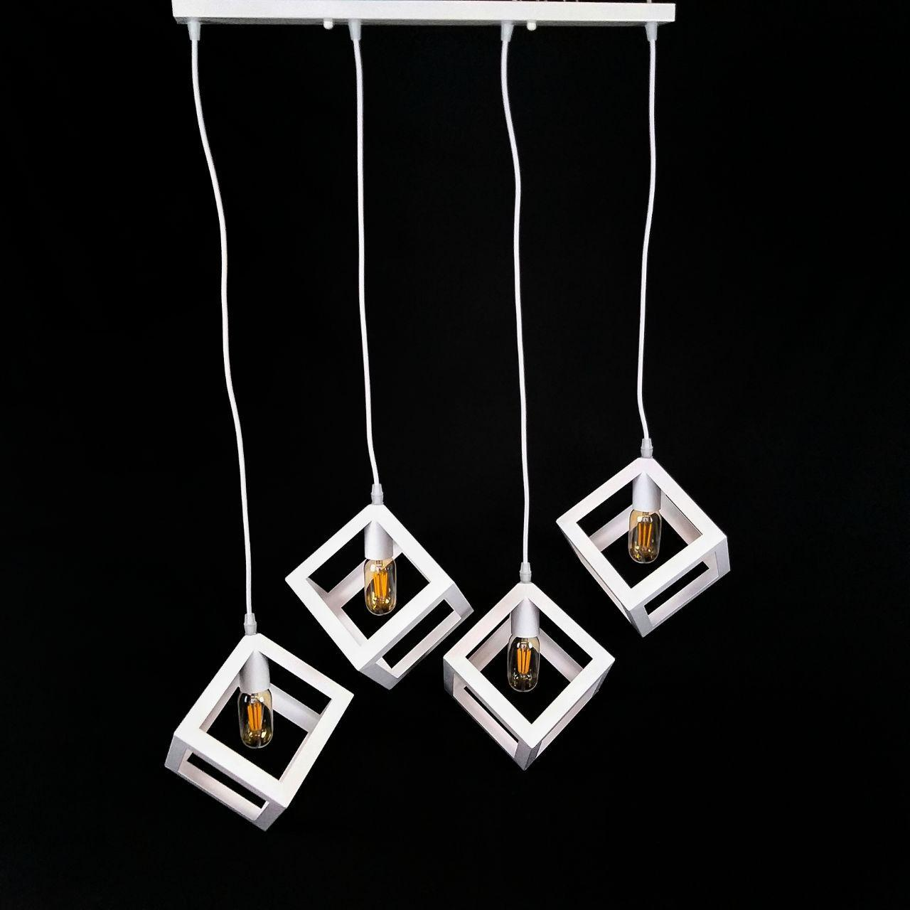 Люстра підвісна на 4 лампи лофт білого кольору куби YS-TY001-A/4 WH