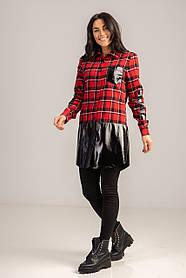 Стильная длинная рубашка в клетку с вставкой из эко-кожи длинным рукавом свободного кроя в размере S/M и L/XL.