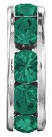 Разделители для бусин Preciosa (Чехия) 6 мм Emerald/серебро