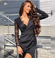Красивое женское платье Ткань креп-костюмка, кружево ресничка Цвет чёрный Размеры 42-44,46-48