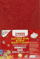 Фоамиран 2 мм с блестками на клейкой основе, 20х30 см,красный MX61853