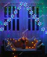 Новогодняя Гирлянда Шторка-арка сніжинка 3м*1м, мульті