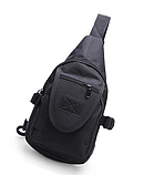 Тактическая городская сумка через плечо A32, черная, фото 2