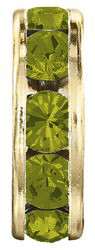 Разделители для бусин Preciosa (Чехия) 10 мм Olivine/латунь