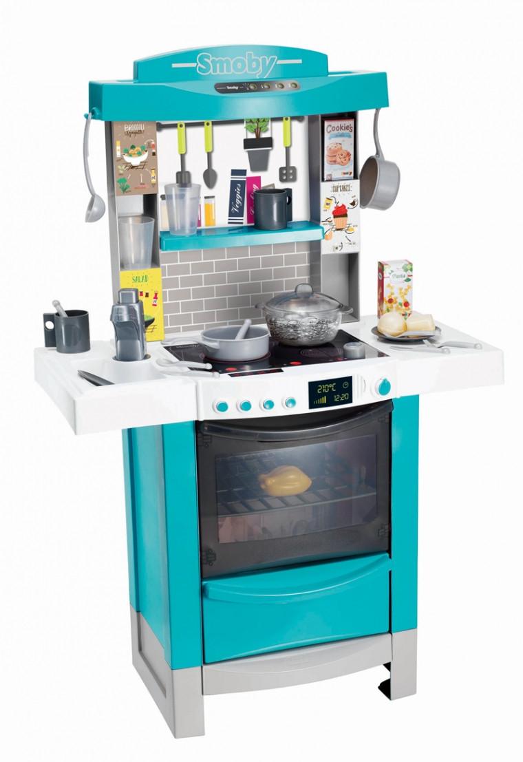 Интерактивная кухня Тефаль Мастер-Шеф Smoby MiniTefal Cooktronic с аксесс.,со звук. и свет. эффек,голубая, 3+