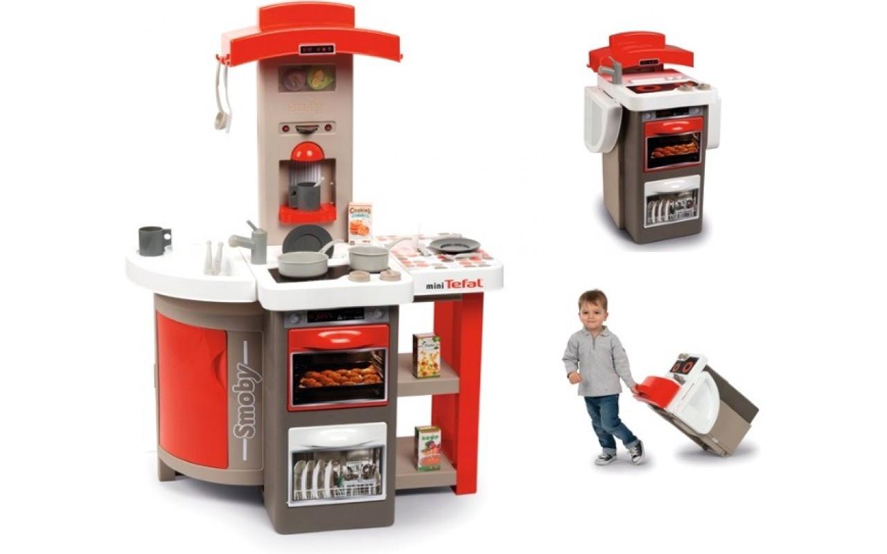 Интерактивная кухня Smoby Тефаль Повар, раскладывается,с аксес., красная Smoby MiniTefal Opencook, 3+