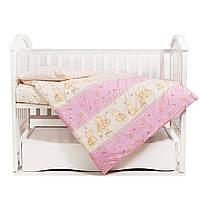 Змінна постіль на дитяче ліжко Twins Comfort С-016 Ведмедики з зірками 3 елемента, рожева